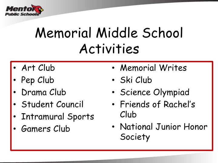 Memorial Middle School Activities