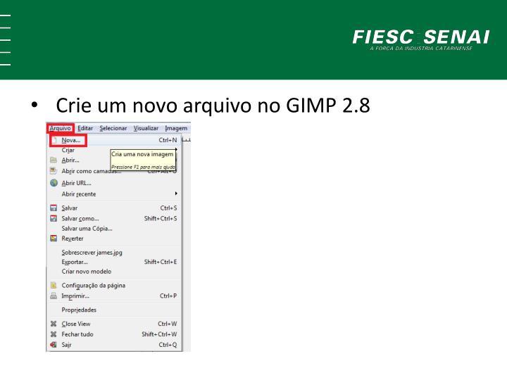 Crie um novo arquivo no GIMP 2.8