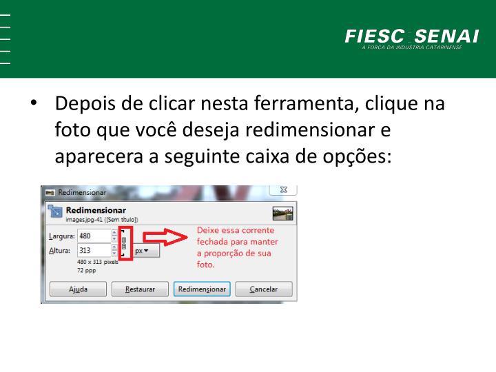Depois de clicar nesta ferramenta, clique na foto que você deseja redimensionar e aparecera a seguinte caixa de opções: