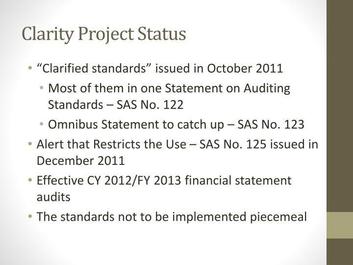 Clarity Project Status
