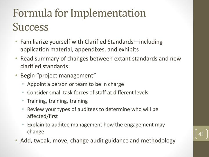 Formula for Implementation Success