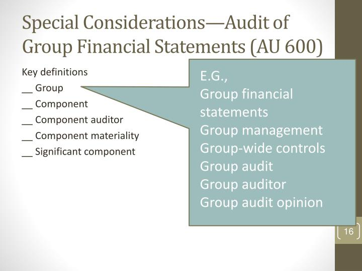 Special Considerations—Audit of Group Financial Statements (AU 600)