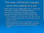 the rows of pascal s triangle count the subsets of a set