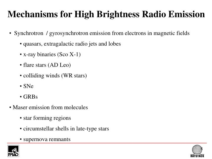 Mechanisms for High Brightness Radio Emission