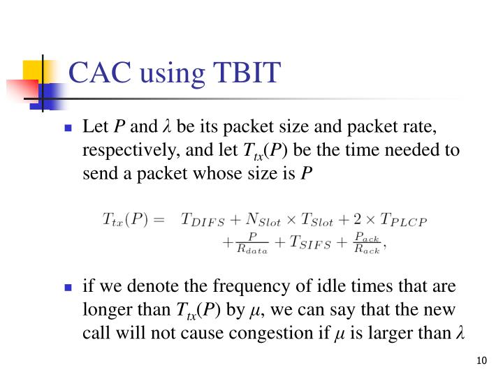CAC using TBIT