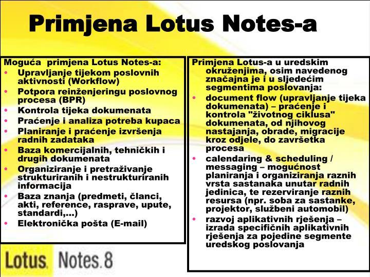 Moguća  primjena Lotus Notes-a: