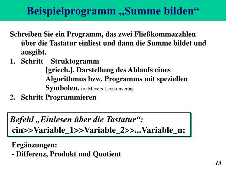 """Beispielprogramm """"Summe bilden"""""""