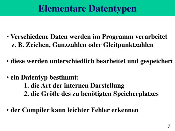 Elementare Datentypen