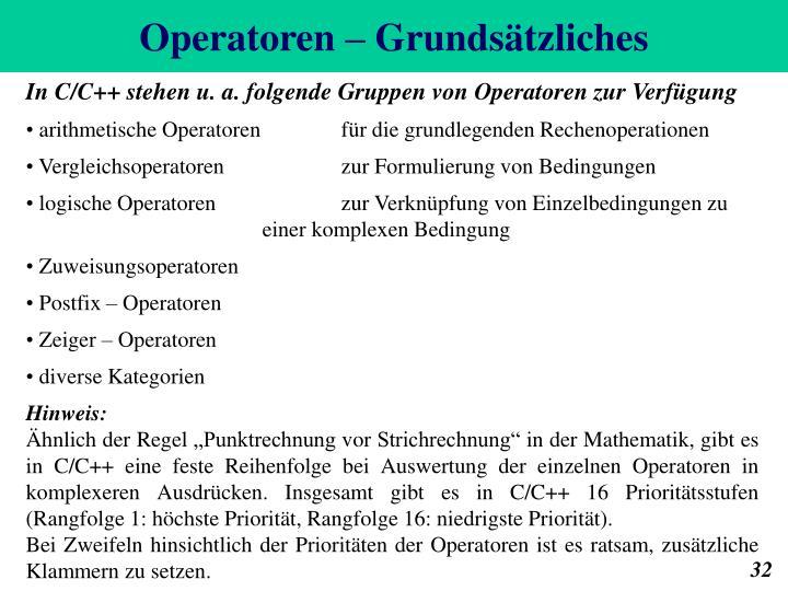 Operatoren – Grundsätzliches