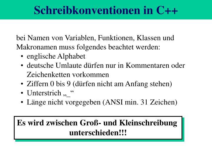 Schreibkonventionen in C++