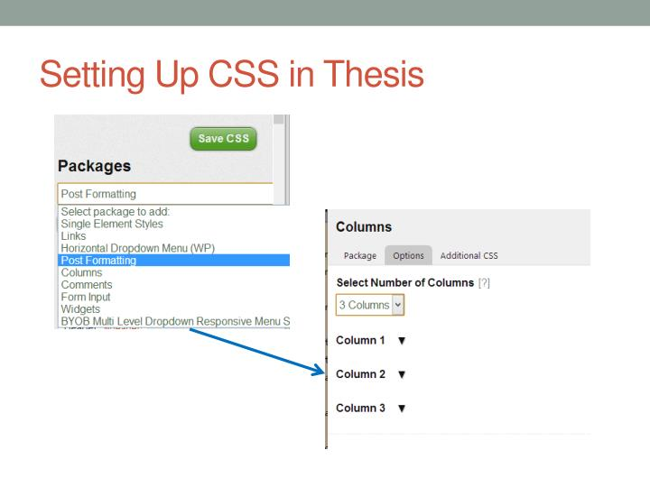 Setting Up CSS in Thesis