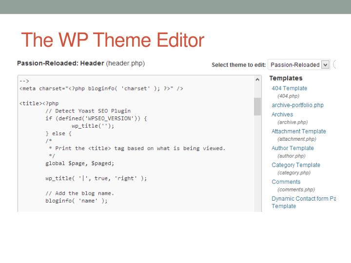 The WP Theme Editor