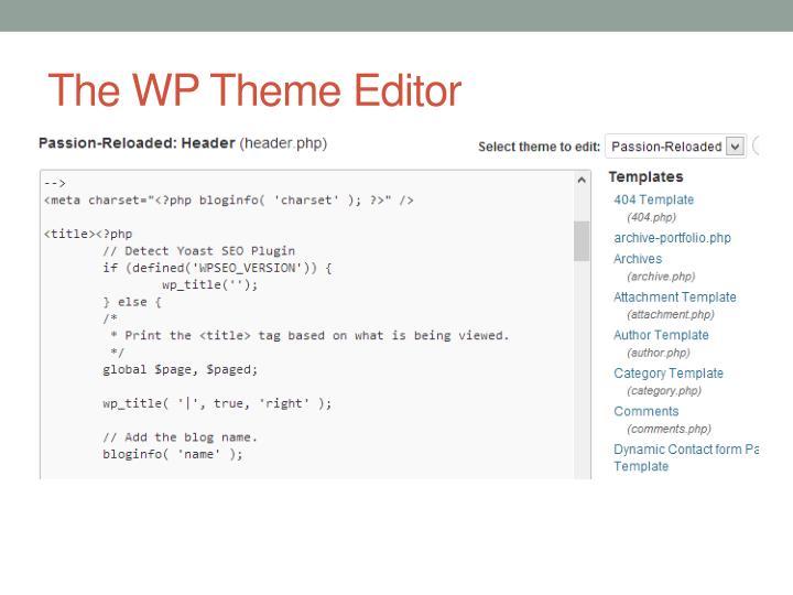 The WP Theme Editor