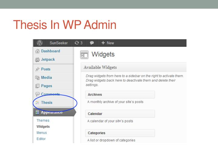 Thesis In WP Admin