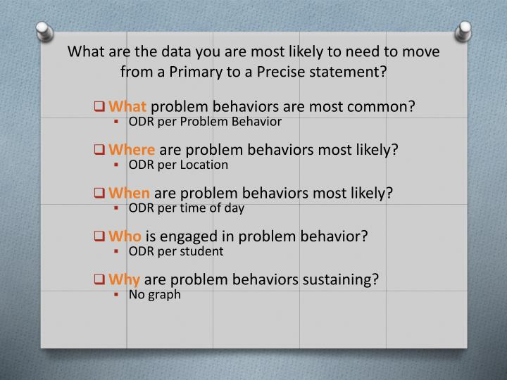 What are the data you are most likely to need to move from a Primary to a Precise statement?