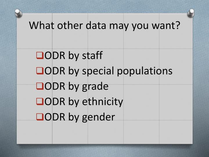 What other data may you want?