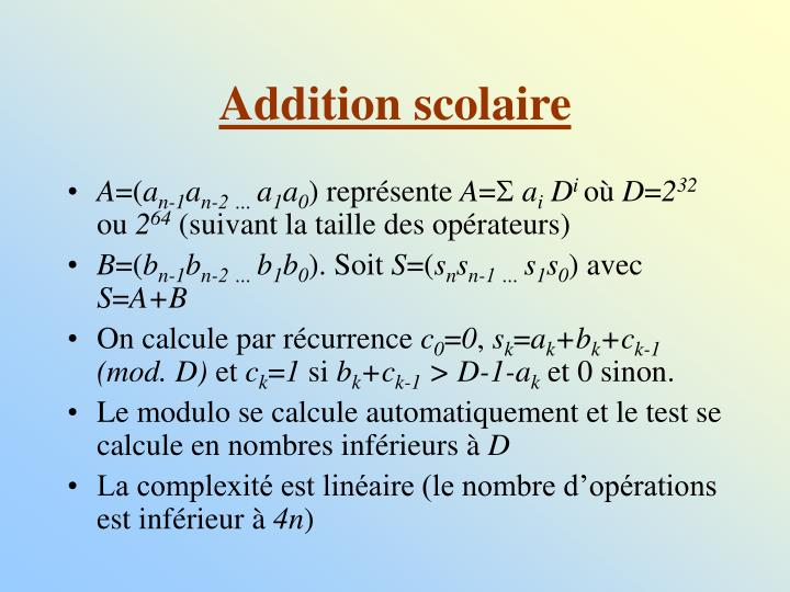 Addition scolaire