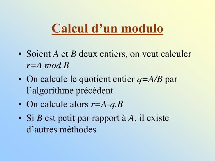 Calcul d'un modulo