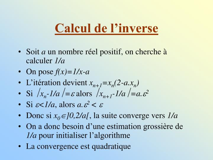 Calcul de l'inverse