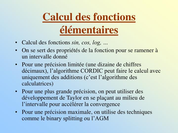 Calcul des fonctions élémentaires