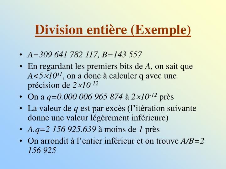 Division entière (Exemple)