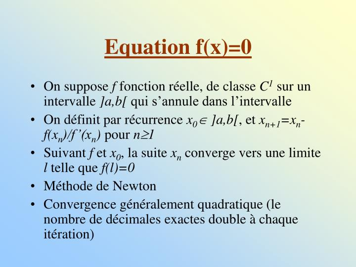 Equation f(x)=0