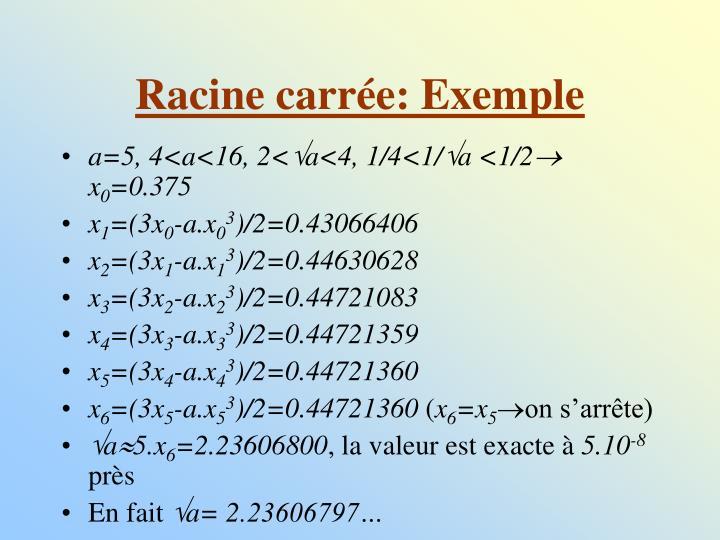 Racine carrée: Exemple