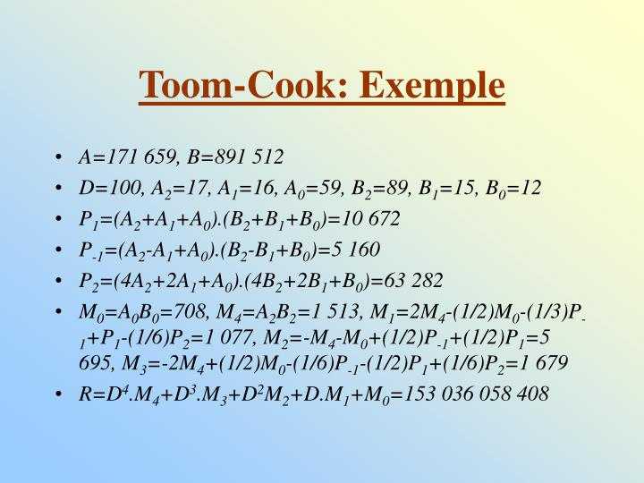Toom-Cook: Exemple