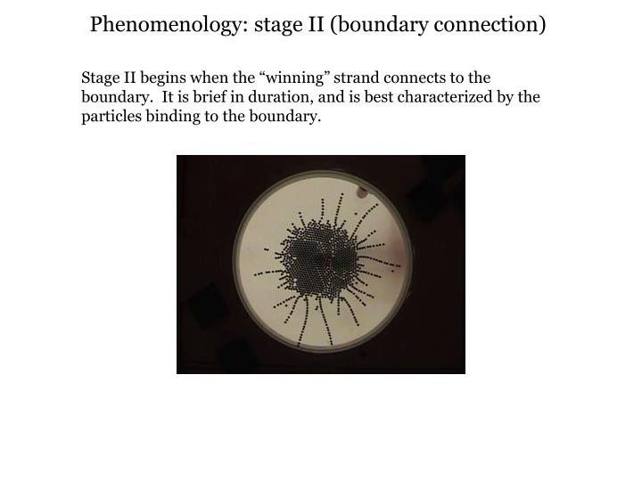 Phenomenology: stage II (boundary connection)