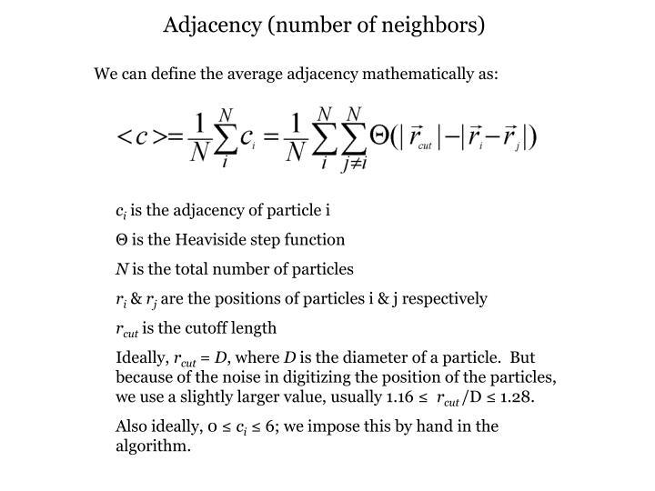 Adjacency (number of neighbors)