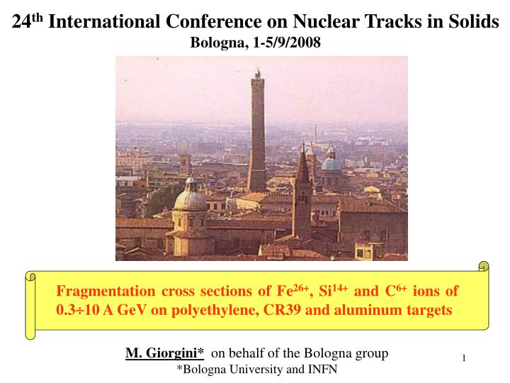 24 th international conference on nuclear tracks in solids bologna 1 5 9 2008