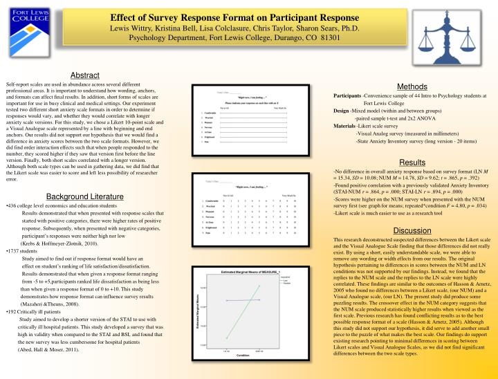 Effect of Survey Response Format on Participant Response