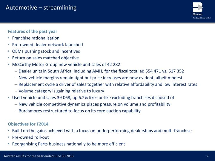 Automotive – streamlining