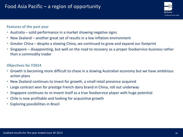 Food Asia Pacific – a region of opportunity