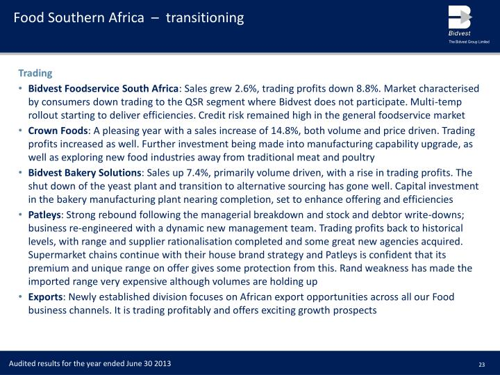 Food Southern Africa  –  transitioning