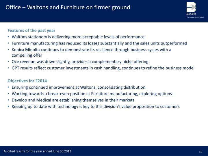 Office – Waltons and Furniture on firmer ground