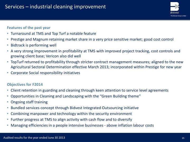 Services – industrial cleaning improvement