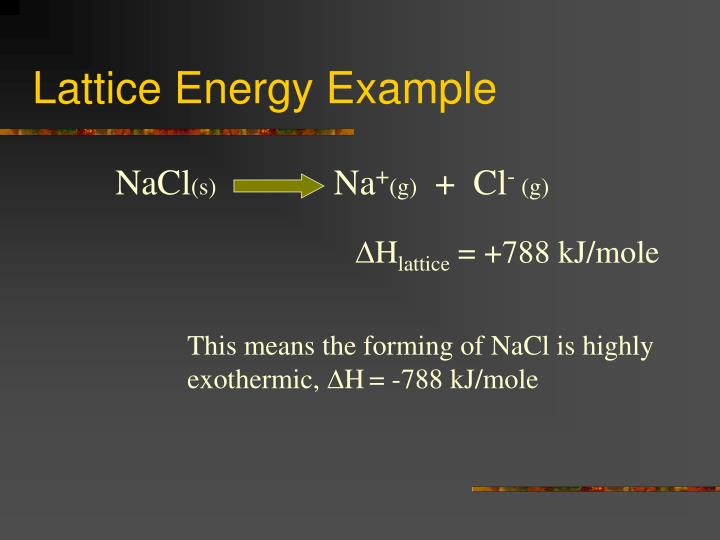 Lattice Energy Example