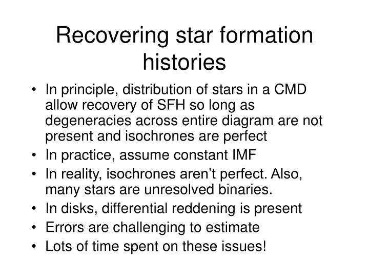 Recovering star formation histories