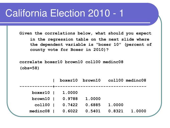 California Election 2010 - 1
