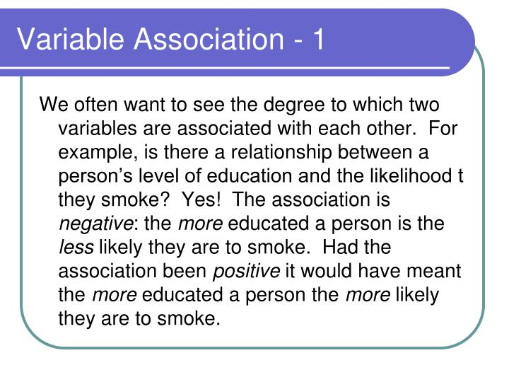 Variable association 1