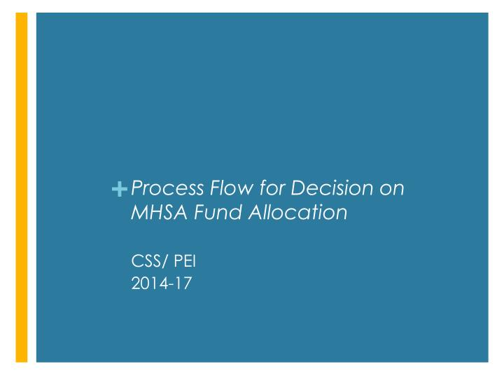 Process Flow for Decision on MHSA Fund Allocation