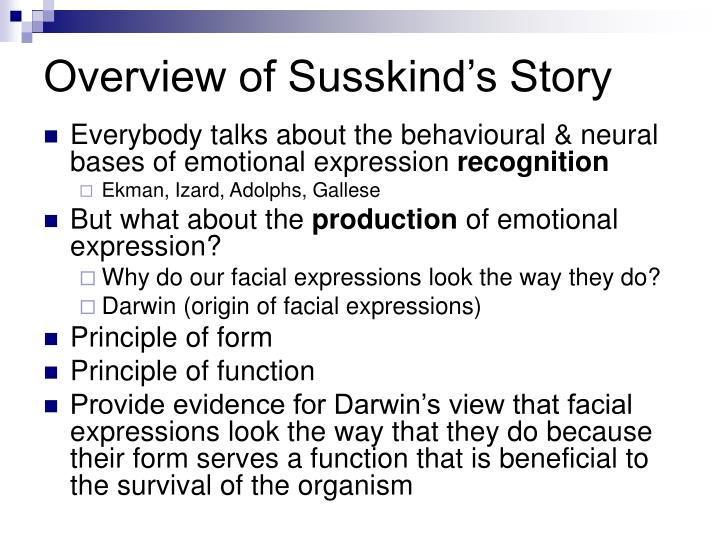 Overview of susskind s story
