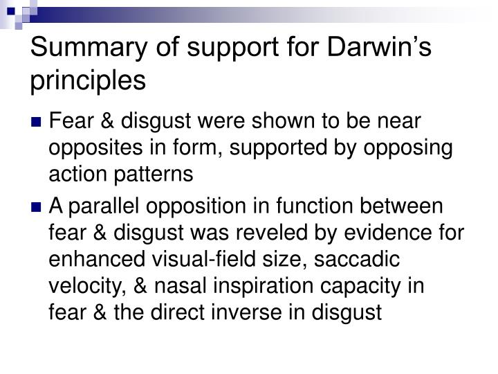 Summary of support for Darwin's principles