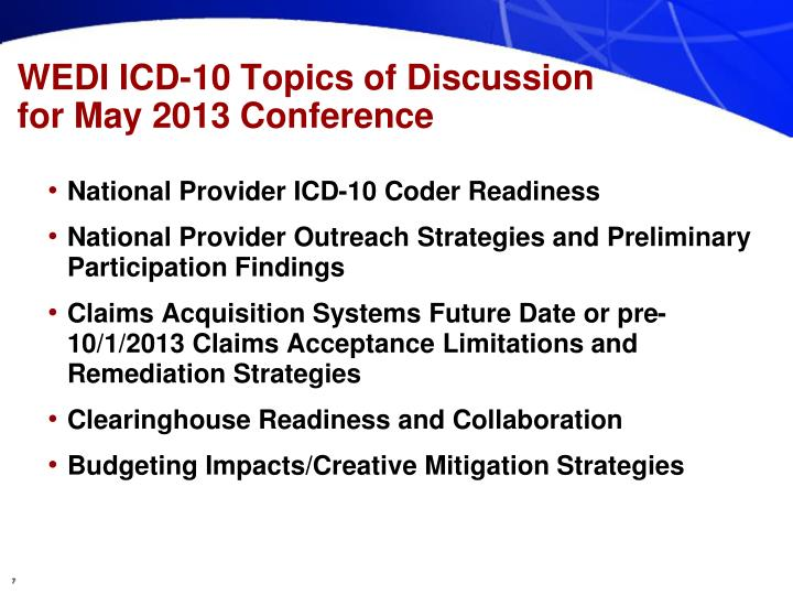 WEDI ICD-10 Topics of Discussion for May 2013 Conference