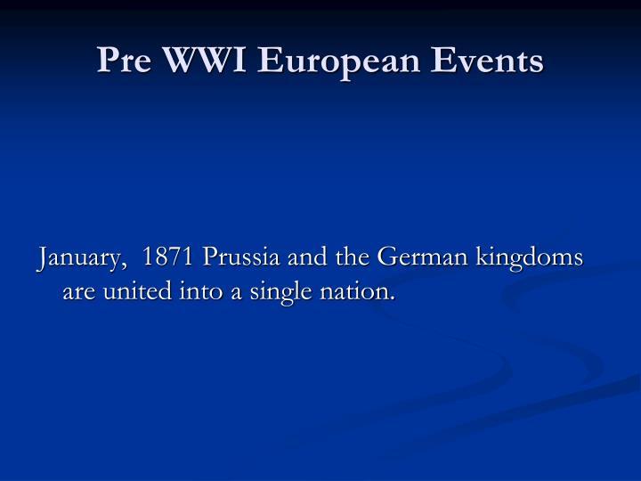 Pre WWI European Events