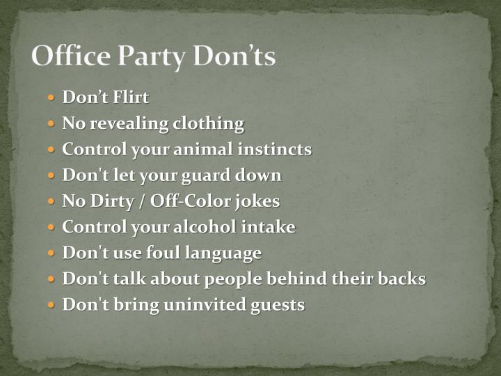 Office Party Don'ts