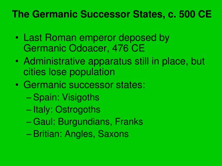 The Germanic Successor States, c. 500 CE
