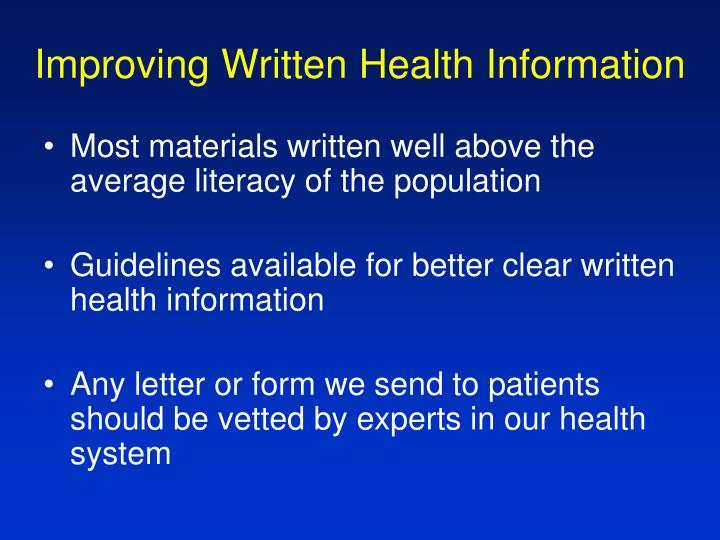 Improving Written Health Information