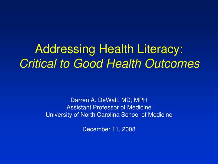 Addressing Health Literacy:
